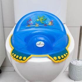 Детская накладка на унитаз «Аква» антискользящая, цвет голубой - фото 4655628