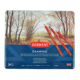 Карандаши художественные цветные, Derwent Drawing 24 цветов, в металлической коробке