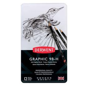 Набор карандашей чернографитных разной твердости Derwent Graphic Soft 12 штук, 9B-H, в металлическом пенале