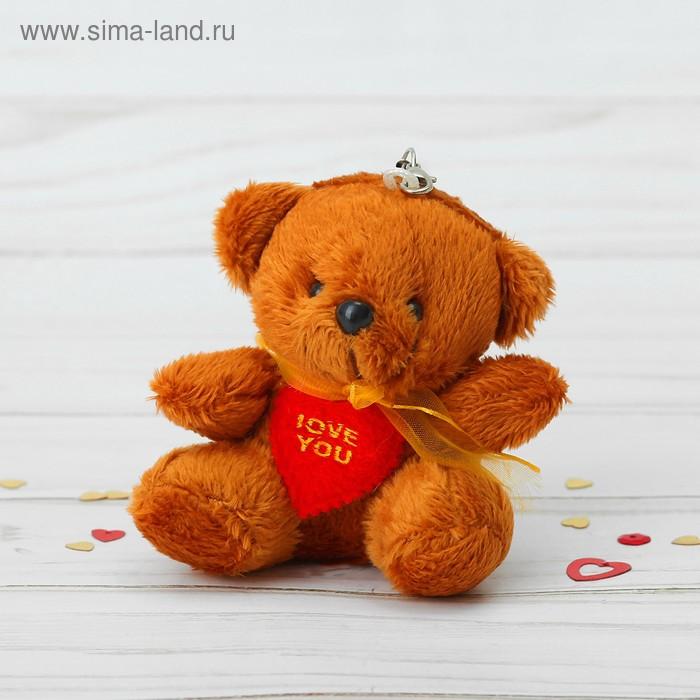 """Мягкая игрушка-подвеска """"Мишка с сердцем"""" капроновый бант, цвета МИКС"""