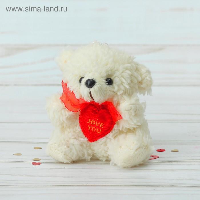 """Мягкая игрушка-подвеска """"Мишка кудрявый"""" с сердцем, цвета МИКС"""