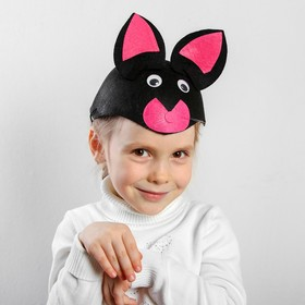 "Carnival hat ""Black cat"" on elastic p-p 52-54"