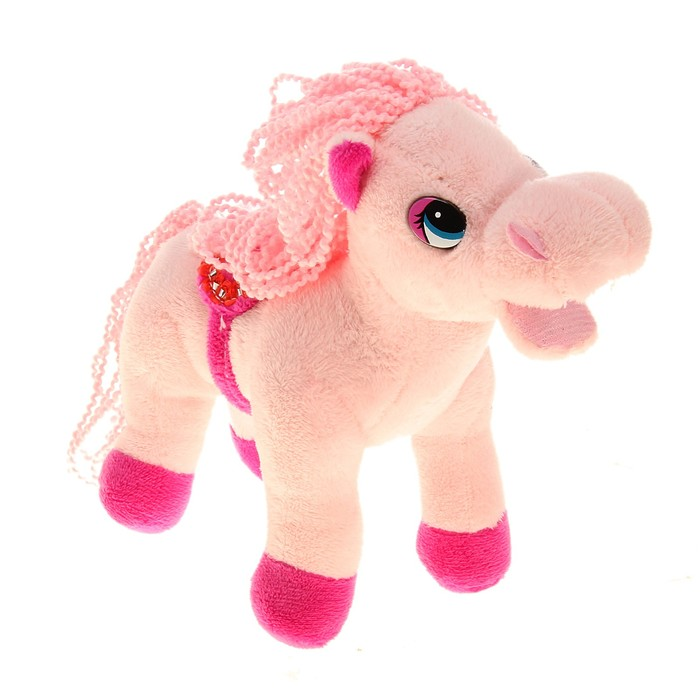 """Мягкая игрушка """"Лошадь розовая"""", грива, хвост кудрявые"""