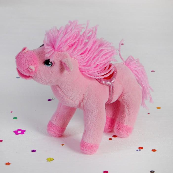 """Мягкая игрушка """"Лошадь розовая"""", хвост, грива кудрявые"""