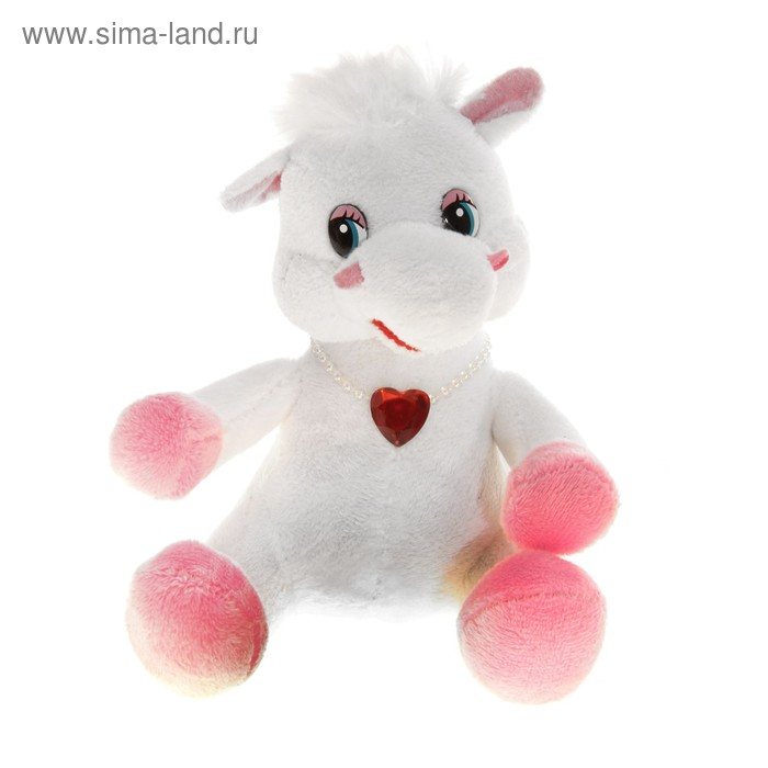 "Мягкая игрушка ""Белая лошадь"", на груди кулон-сердце"