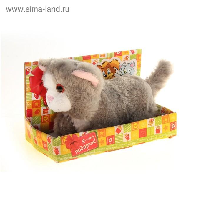 """Мягкая игрушка интрактивная """"Котенок"""" серый, мордочка белая, в коробке"""
