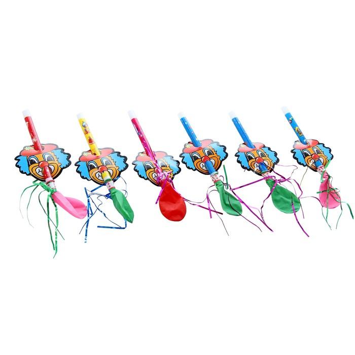 """Язычок """"Клоун красный нос"""" с воздушным шаром, издает звук, набор 6 штук"""