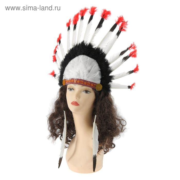 """Карнавальный головной убор индейца """"Роуч"""", красные концы"""