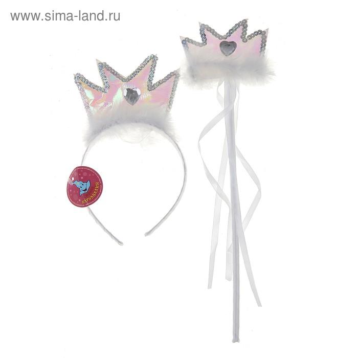 Набор карнавальный корона 2 предмета: ободок, волшебная палочка, цвета МИКС