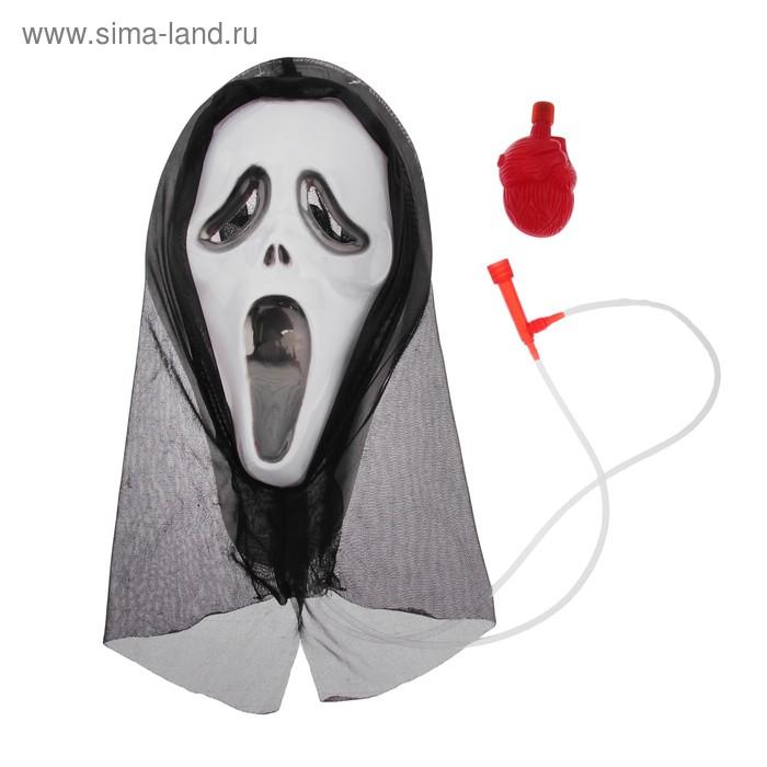 Карнавал маска пластик крик с жидкостью 40*30