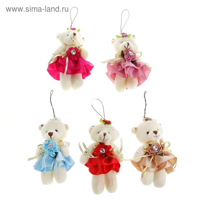 """Мягкая игрушка-подвеска """"Мишка в юбке"""", на голове цветок, цвета МИКС"""