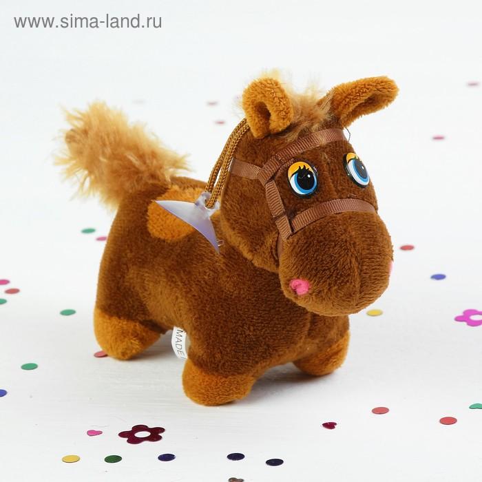 """Мягкая игрушка присоска """"Лошадь в уздечке с пятнышком на спине"""", средняя, цвета МИКС"""
