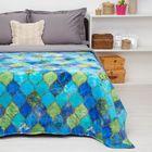 """Покрывало постельное """"Павлина""""  Мозаика голубая,150 х 200 см аэрософт 190гр/м2, пэ100%"""