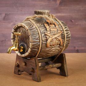 Бочка на деревянной подставке 'Замок', латунный кран, 2,5 л Ош