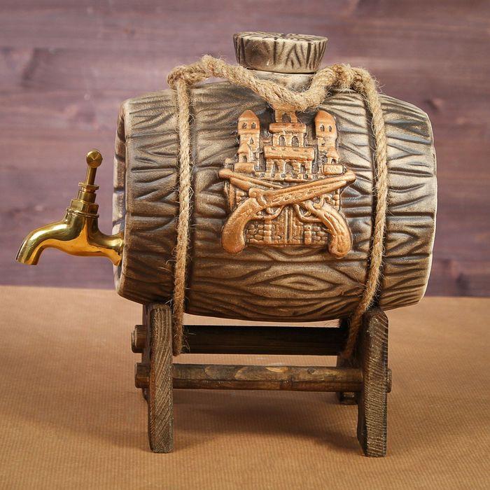 """Бочка на деревянной подставке """"Замок"""", латунный кран, 2,5 л"""
