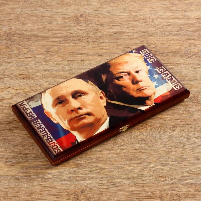 """Нарды """"Путин & Трамп"""", деревянная доска 40х40 см, с полем для игры в шашки"""