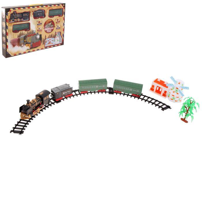 """Железная дорога """"Классический поезд"""", паровоз и 3 вагона и мельница, свет и звук"""