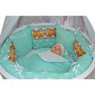Комплект для прямоугольной кроватки «Совята», 19 предметов, цвет мятный