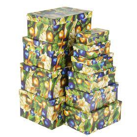 "10b1 set of boxes ""Golden and blue balls"" 30,5 x 20 x 13 - 12 x 6.5 x 4 cm"