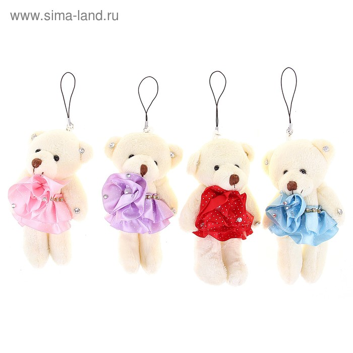 """Мягкая игрушка-подвеска """"Мишка"""", юбка в горошек со стразами, цвета МИКС"""