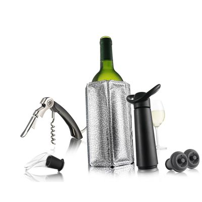 Подарочный набор для вина (штопор, охладительная рубашка для вина, вакуумный насос с пробкой, каплеу