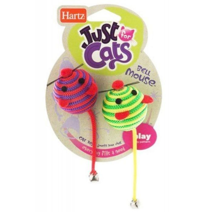 Игрушка для кошек Hartz - Две круглых мышки, с колокольчиками, мягкая, микс
