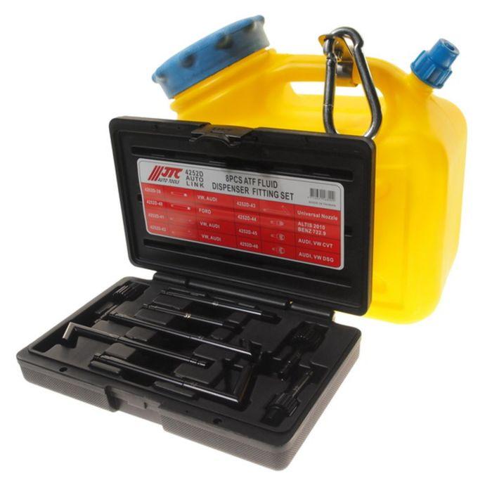 Емкость для заправки АКПП маслом JTC с набором адаптеров, 8 шт