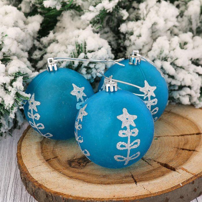 Набор шаров пластик d-7 см 6 шт голубое утро елочка