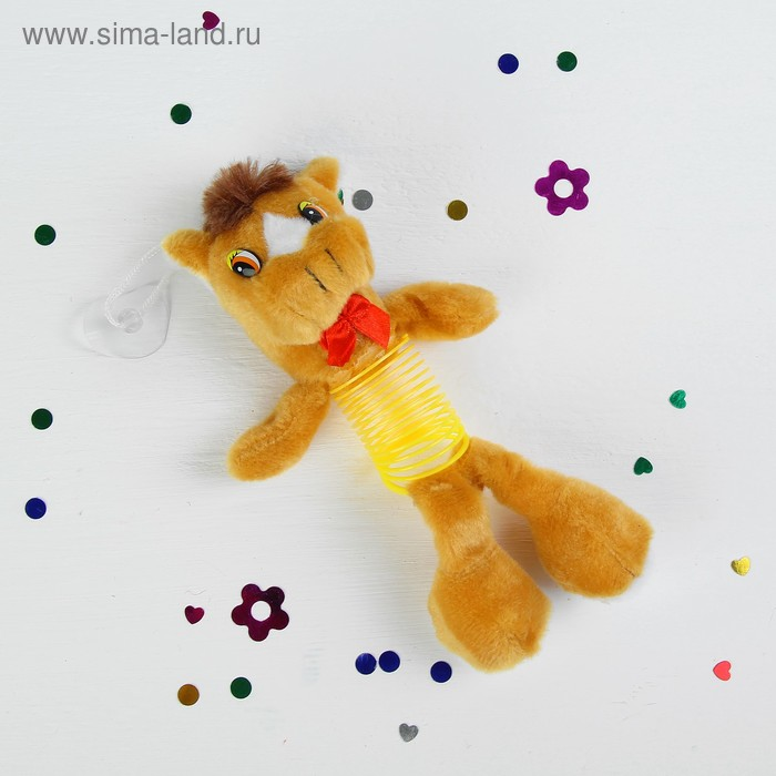 """Мягкая игрушка-присоска """"Лошадь на пружине"""", цвета МИКС"""