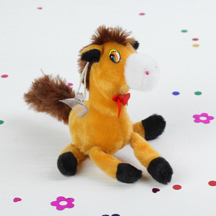 """Мягкая игрушка-присоска """"Лошадь"""" ноги болтаются, цвета МИКС"""