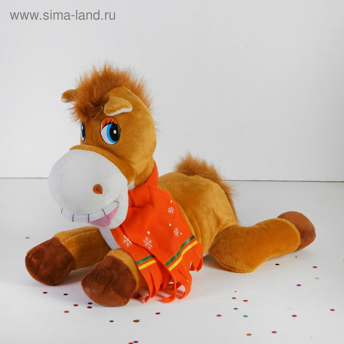 """Мягкая игрушка """"Лошадь"""" в шарфике со снежинками, большая, улыбка лежит, цвета МИКС"""