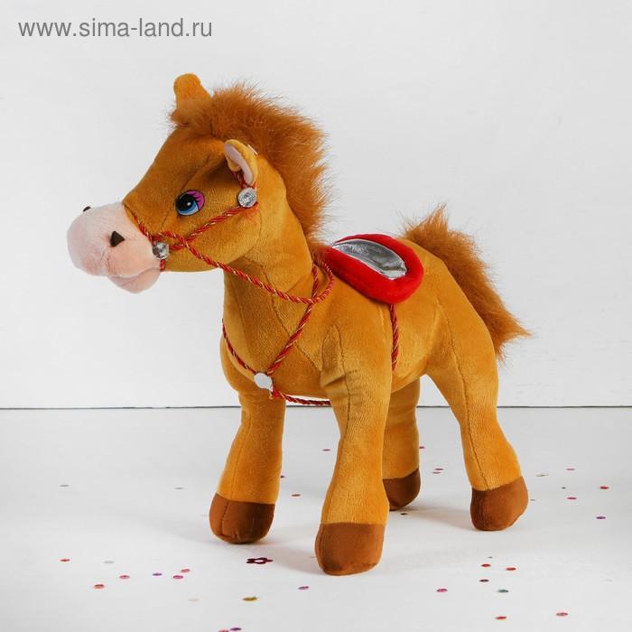 """Мягкая игрушка """"Лошадь"""" с плетеной уздечкой, цвета МИКС"""