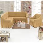 Чехол для мягкой мебели DO&CO, диван угловой 2-х предметный, кресло 1шт, медовый, п/э