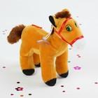 """Мягкая игрушка присоска """"Лошадь"""" с цветком на боку и большими глазками, стоит, цвета Микс"""