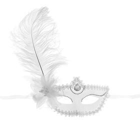 Карнавальная маска «Большое перо», с цветком, 10х18, цвет белый