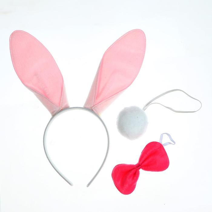 """Carnival set """"Rabbit"""", three items: the tail, the bezel, bow"""