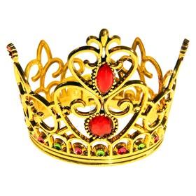 """Корона на резинке """"Принцесса"""" с двумя рубинами, золотистая"""