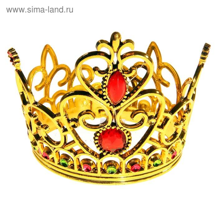"""Корона """"Принцесса"""" с двумя рубинами, золотистая"""