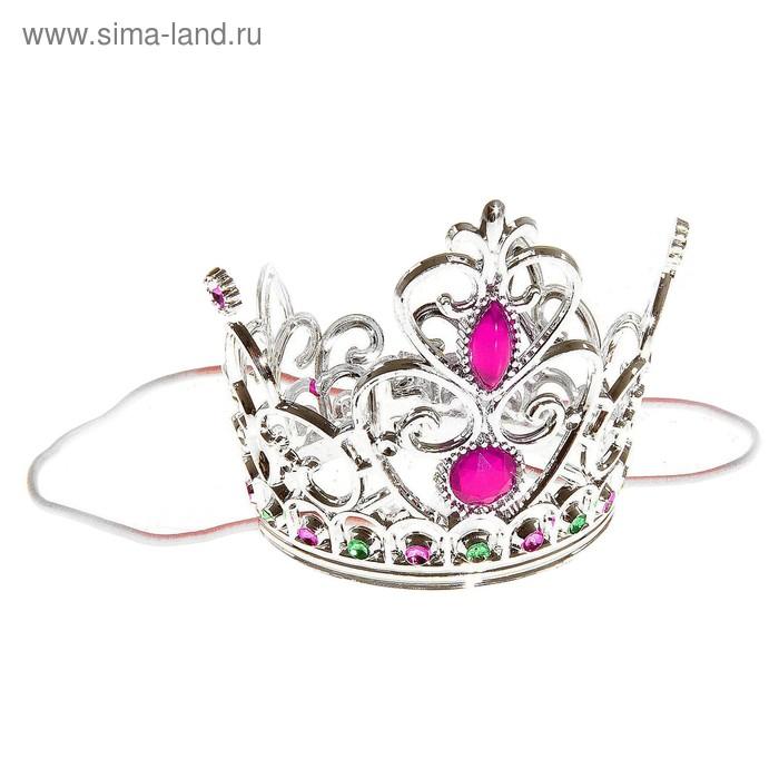 """Корона """"Принцесса"""" с двумя рубинами, серебристая"""
