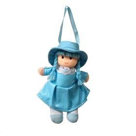 Soft toy doll in a dress with a collar, MIX color