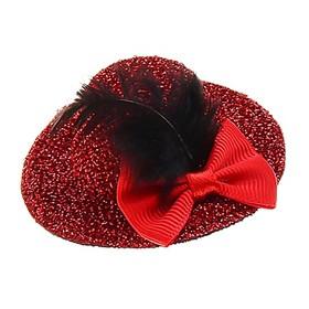 Карнавал зажим «Шляпка», бант и перо, набор 6 шт., цвета МИКС