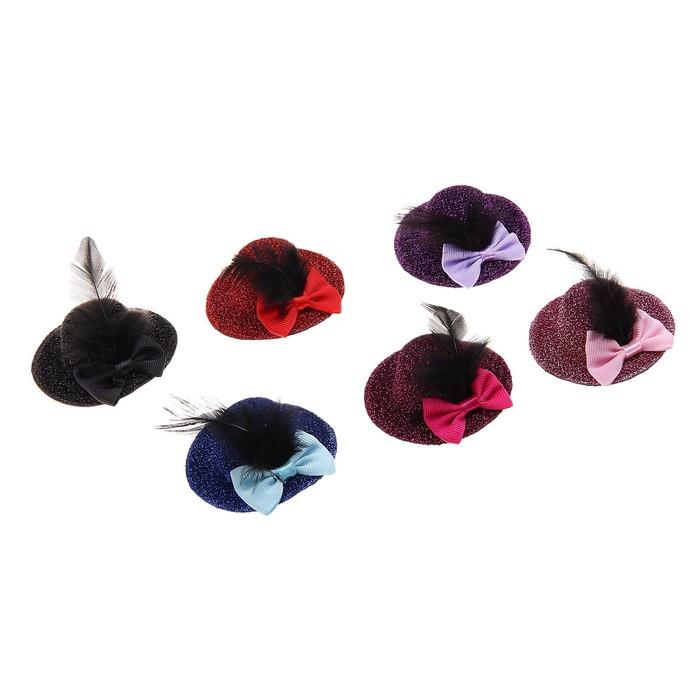 Карнавал зажим шляпка бант перо, набор 6 шт, цвета МИКС - фото 405868414