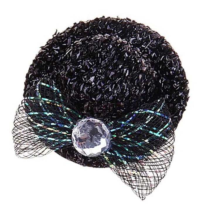 """Карнавальный зажим шляпка """"Мисс"""" блестящая, набор 12 шт, цвета МИКС - фото 418285748"""