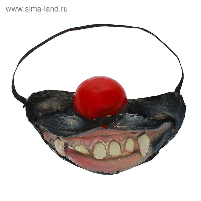 """Полумаска латекс """"Улыбка"""" с красным носом"""