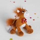 """Мягкая игрушка-подвеска """"Лошадь"""" бантиком с камушком, ноги болтаются, цвета МИКС"""