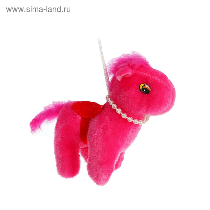 """Мягкая игрушка-присоска """"Лошадь с бусами"""" красная попона, цвета МИКС"""
