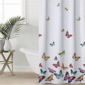 Штора для ванной комнаты Доляна «Бабочки», 180×180 см, полиэстер