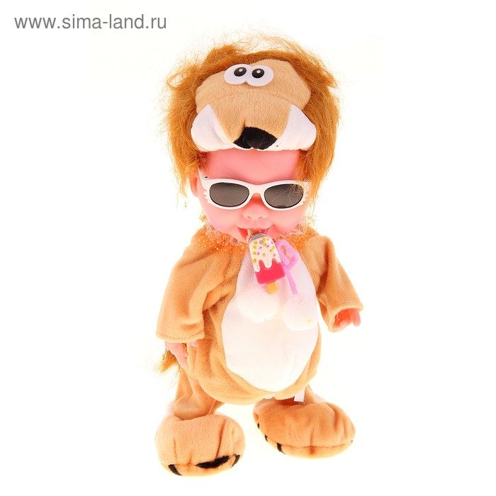 """Мягкая игрушка интерактивная """"Карапуз в одежде льва"""" соску убираешь кричит"""