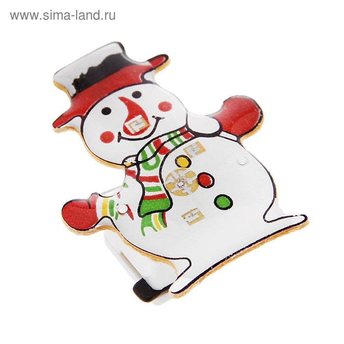 """Карнавальный значок световой """"Снеговик"""""""