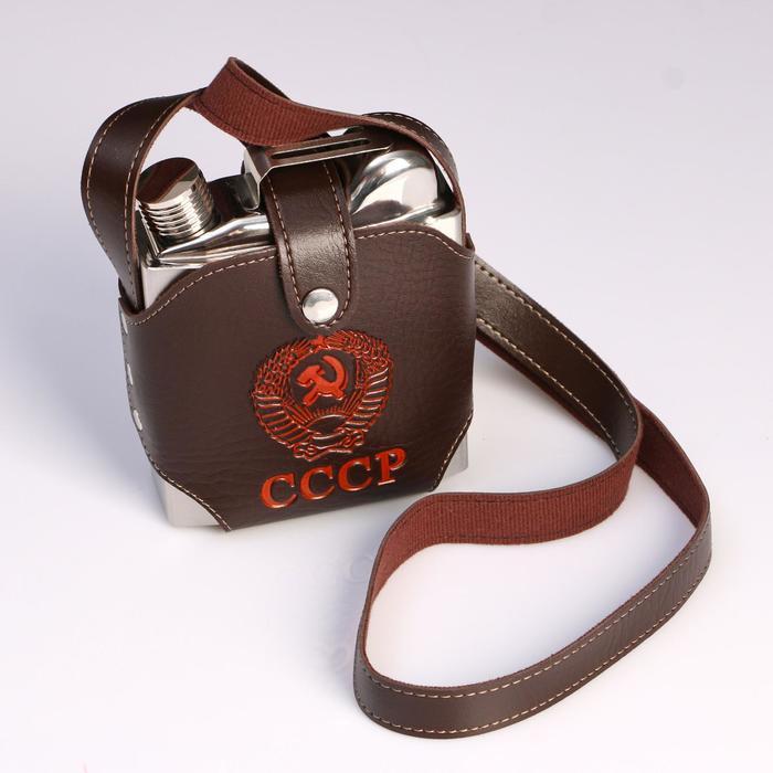 Фляжка 540 мл, в виде канистры, в коричневом чехле с гербом СССР, металл